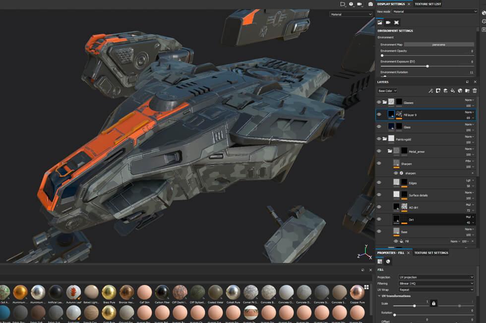 Anshar Online spaceships: adding 3D textures.