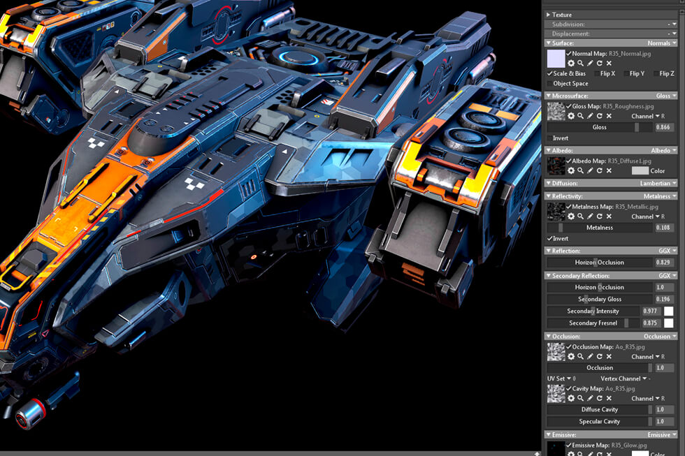 Anshar Online spaceships: Settings for beauty renders on Marmoset Toolbag