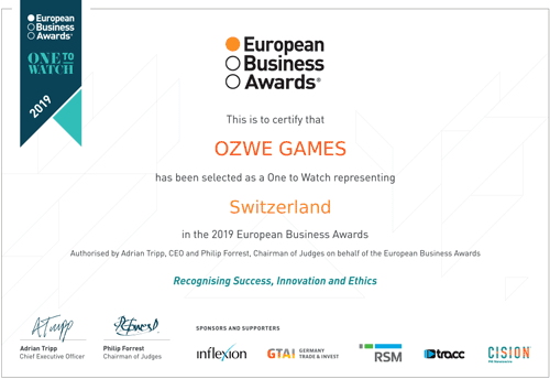 European Business Awards 2019 Certificate