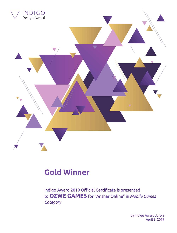 Indigo Award Certificate: Anshar Online Best Mobile Game Gold Winner